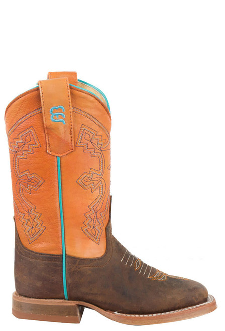 Anderson Bean Distressed Bison Tangerine Boots - Side