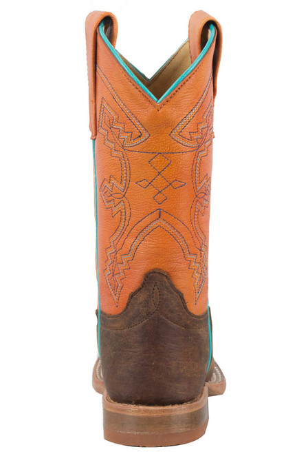 Anderson Bean Distressed Bison Tangerine Boots - Back