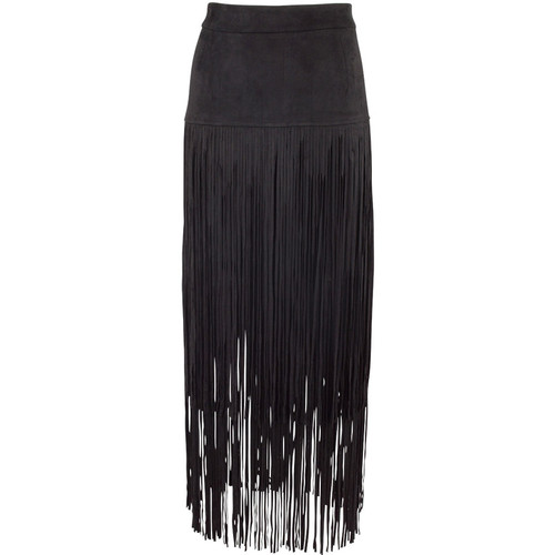 Adore Faux Suede Skirt with Long Fringe - Black - Front