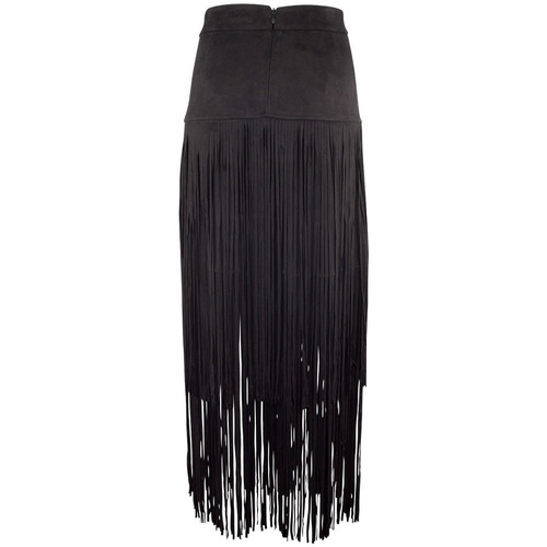 Adore Faux Suede Skirt with Long Fringe - Black - Back