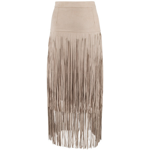 Adore Faux Suede Skirt with Long Fringe - Camel - Front