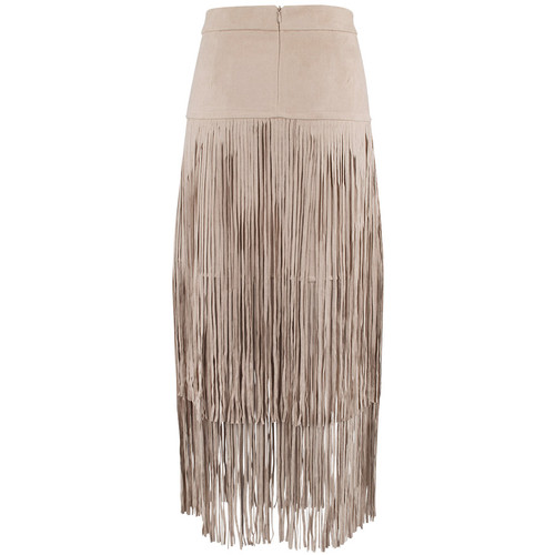 Adore Faux Suede Skirt with Long Fringe - Camel - Back