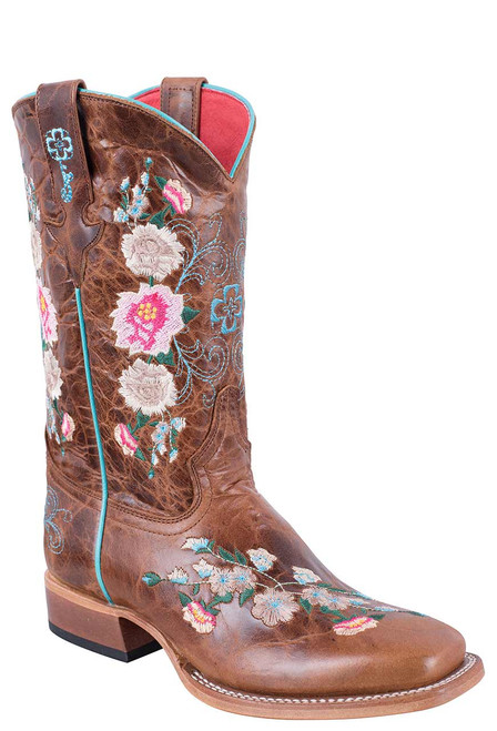 Macie Bean Kids Honey Bunch Embroidered Boots with Square Toe