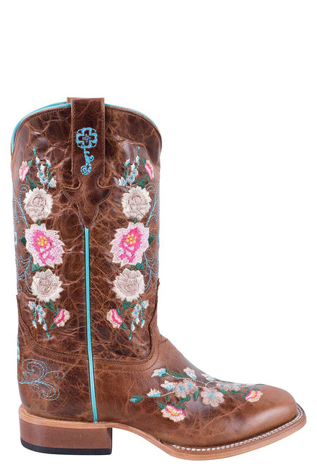 Macie Bean Kids Honey Bunch Embroidered Boots with Square Toe - Side