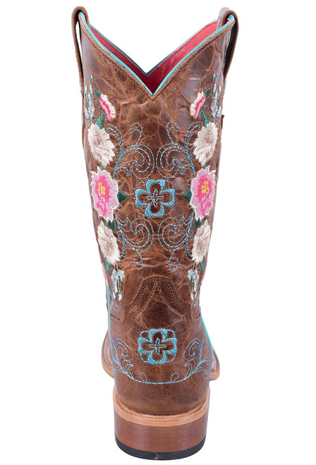 Macie Bean Kids Honey Bunch Embroidered Boots with Square Toe - Back