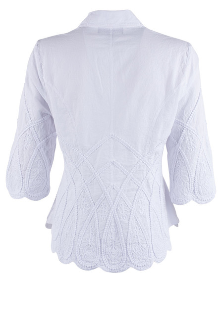 Gretty Zueger 3/4 Sleeve Criss Cross Top - White - Back