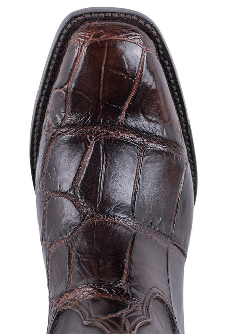Black Jack for Pinto Ranch Men's Chocolate Gator Boots - Toe