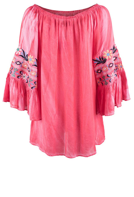 Avani Del Amour Coral Embroidered Sleeve Top - Back