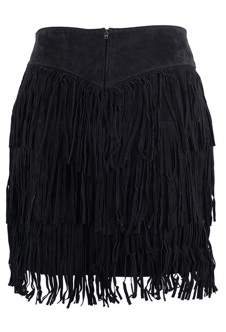 Scully Black Short Suede Three Tiered Fringe Skirt - Back