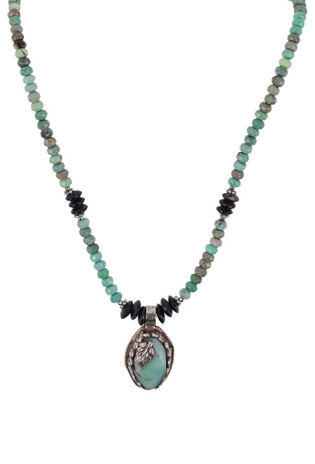 Breathe Deep Designs Opal and Horn Beaded Necklace - Close-up