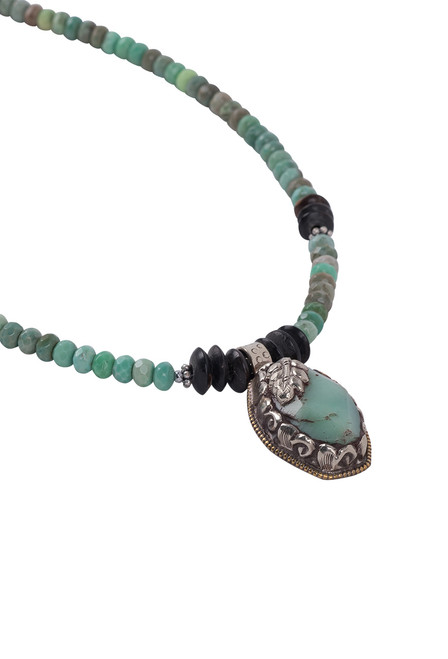 Breathe Deep Designs Opal and Horn Beaded Necklace