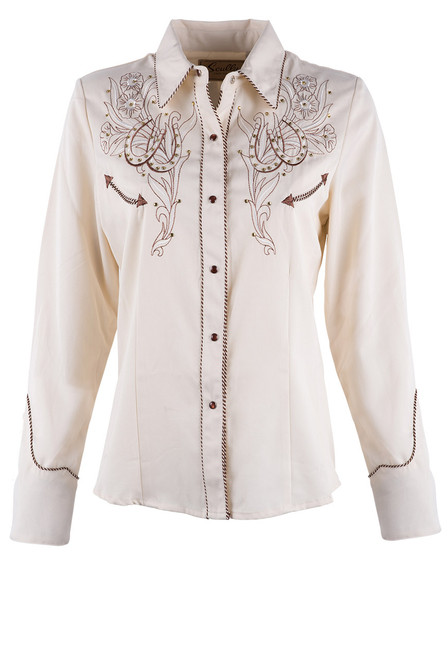 Scully Women's Horseshoe And Flower Western Snap Shirt - Front