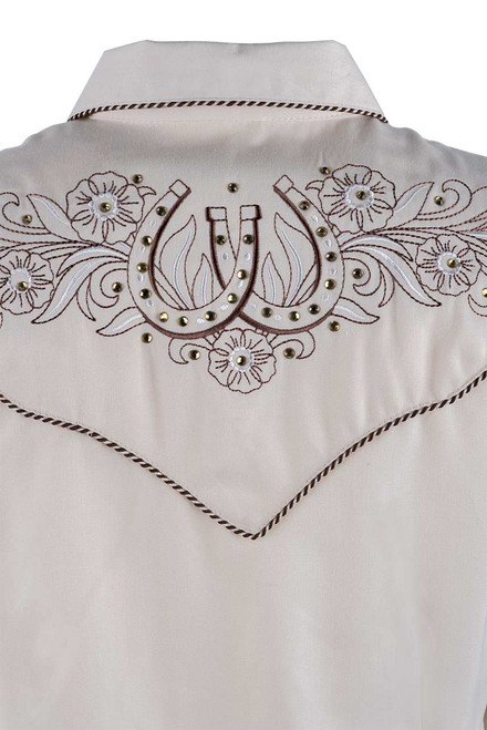 Scully Women's Horseshoe And Flower Western Snap Shirt -Close-up Back