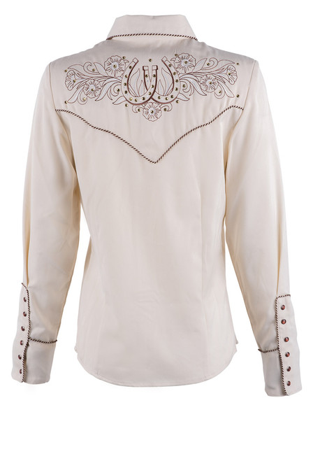 Scully Women's Horseshoe And Flower Western Snap Shirt - Back
