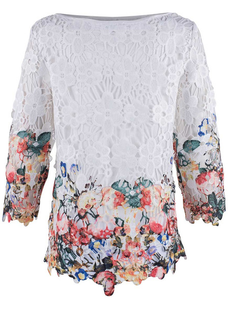 Adore White Floral Top - Back