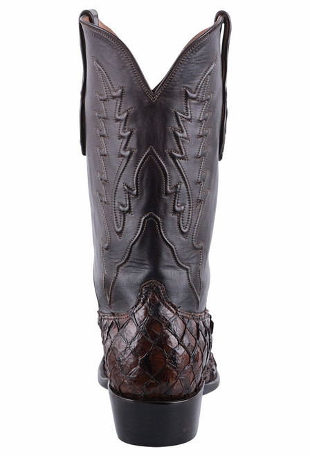 Black Jack for Pinto Ranch Men's Chocolate Inverted Fish Boots  - Back