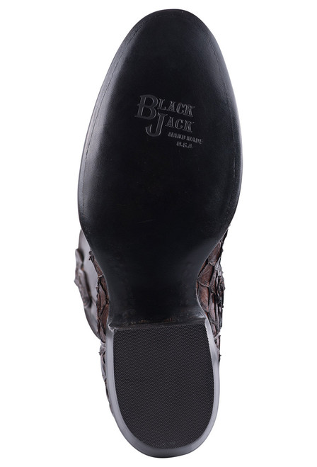 Black Jack for Pinto Ranch Men's Chocolate Inverted Fish Boots - Sole
