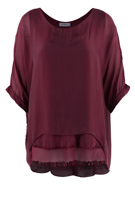 Gigi 3/4 Sleeve Top with Tier Bottom - Front -  Burgundy