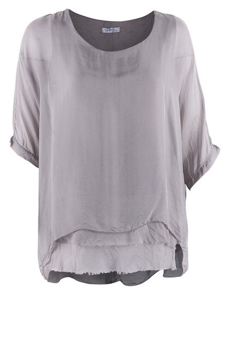 Gigi 3/4 Sleeve Top with Tier Bottom - Taupe - Front