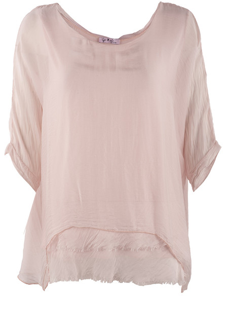 Gigi 3/4 Sleeve Top with Tier Bottom - Washed Pink