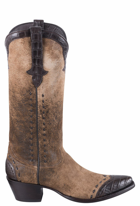 Stallion Women's Distressed Vintage Kidskin and Caiman Cowgirl Boots