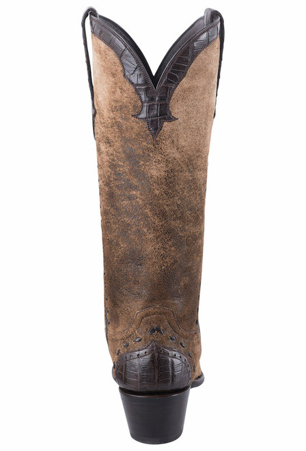 Stallion Women's Distressed Vintage Kidskin and Caiman Cowgirl Boots - Back