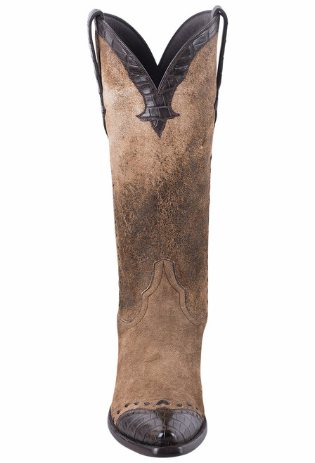 Stallion Women's Distressed Vintage Kidskin and Caiman Cowgirl Boots  - Front