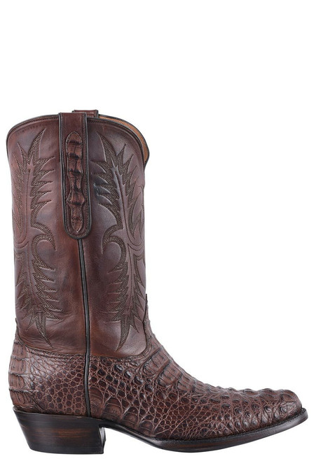 Black Jack for Pinto Ranch Men's Chocolate Caiman Hornback Cowboy Boots - Side