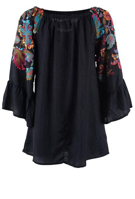 Avani Del Amour Floral Embroidered Jacquard Tunic - Back