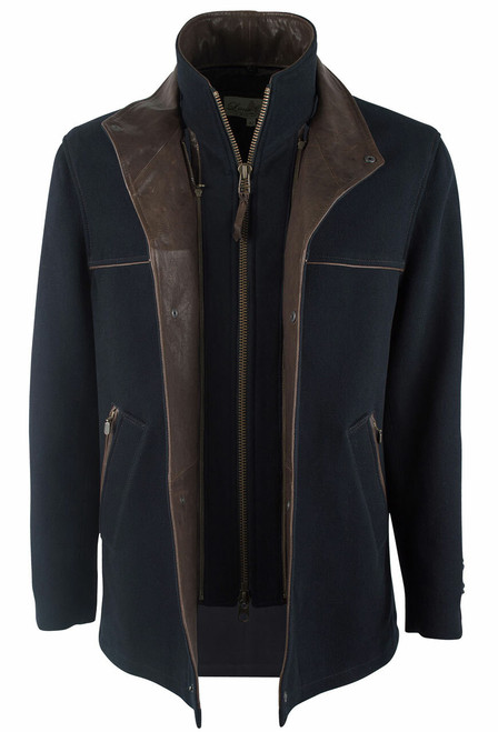 Lone Pine Navy Cashmere Blend Jacket - Front - Open