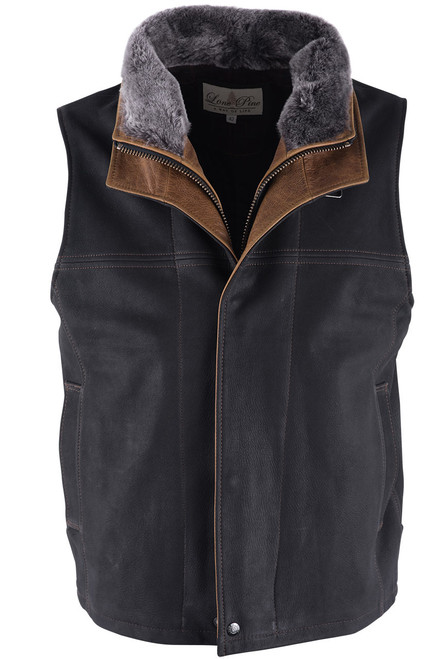 Lone Pine Black Leather Vest With Detachable Shearling - Front