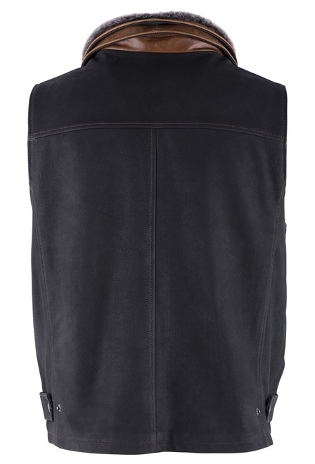 Lone Pine Black Leather Vest With Detachable Shearling - Back