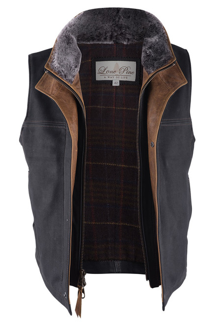 Lone Pine Black Leather Vest With Detachable Shearling - Open