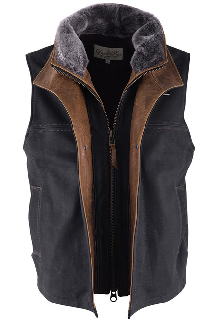 Lone Pine Black Leather Vest With Detachable Shearling - Open - Alternate