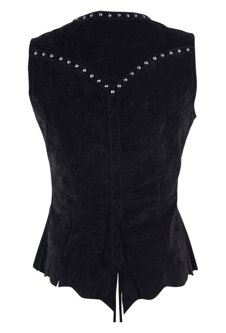 Cripple Creek Raw Edge Black Leather Vest With Studs and Lace Back