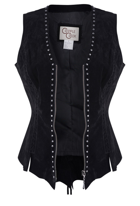 Cripple Creek Raw Edge Black Leather Vest With Studs and Lace - Open