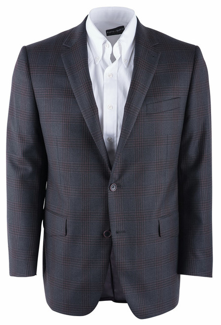 Pinto Ranch Gray and Brown Plaid Western Sport Coat - Front