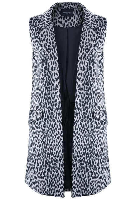 Dolce Cabo Leopard Long Vest With Pockets - Front