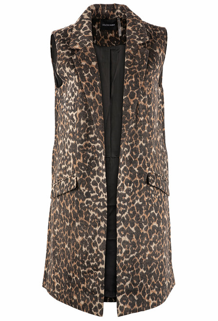 Dolce Cabo Leopard Long Vest With Pockets - Brown - Front