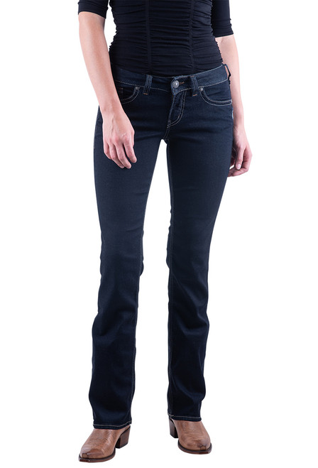 Silver Jeans Co. Suki Slim Boot Cut Dark Rinse Wash Jeans - Front