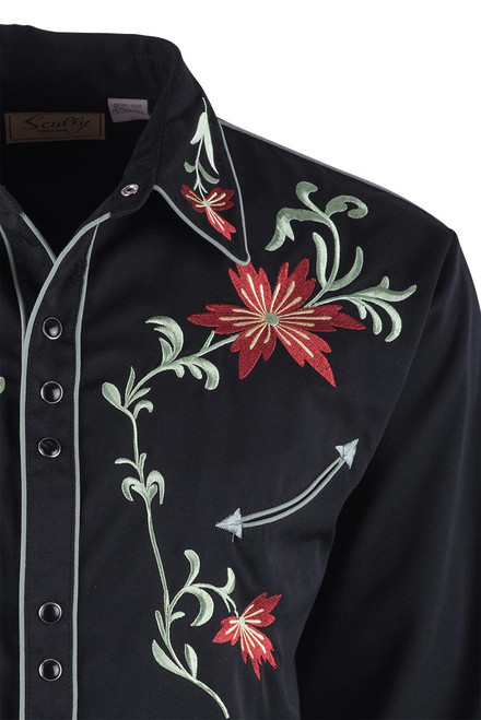 Scully Men's Black Floral Embroidered Vintage Western Snap Shirt - Close-up