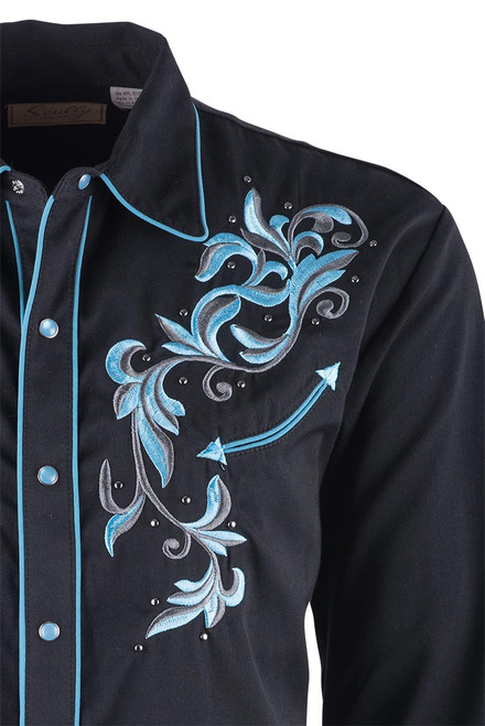 Scully Men's Black and Blue Filigree Embroidered Vintage Western Snap Shirt - Close-up