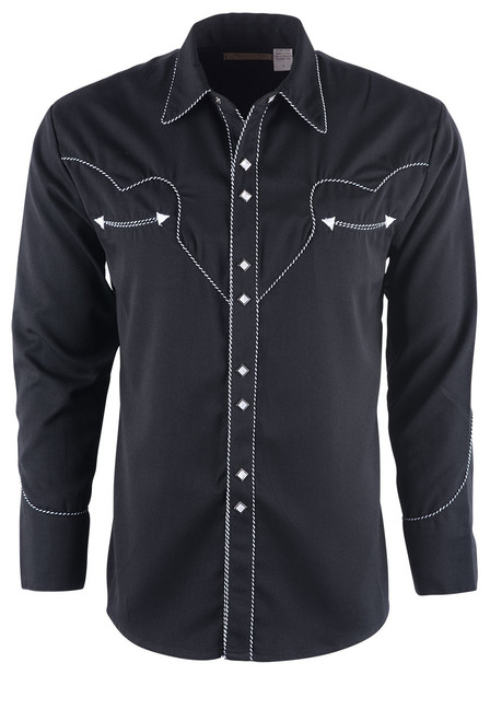 Scully Men's Black Piped Vintage Western Diamond Snap Shirt - Front