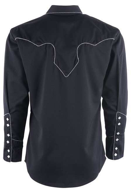 Scully Men's Black Piped Vintage Western Diamond Snap Shirt - Back