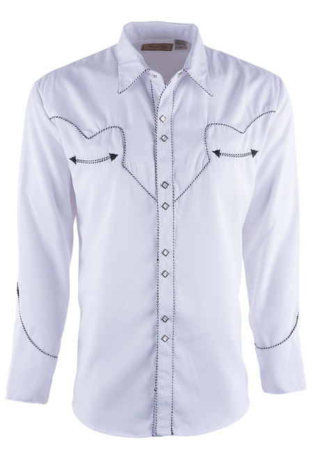 Scully Men's White Piped Vintage Western Diamond Snap Shirt - Front