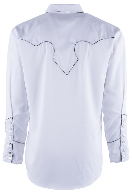 Scully Men's White Piped Vintage Western Diamond Snap Shirt - Back