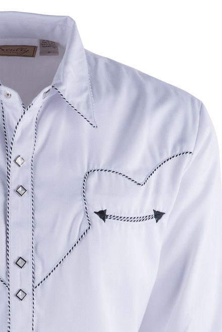 Scully Men's White Piped Vintage Western Diamond Snap Shirt