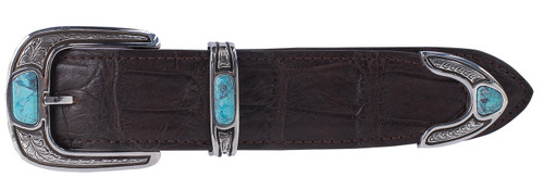 "Chacon 3 Piece Engraved Sterling Silver with Turquoise 1 1/2"" Buckle Set"