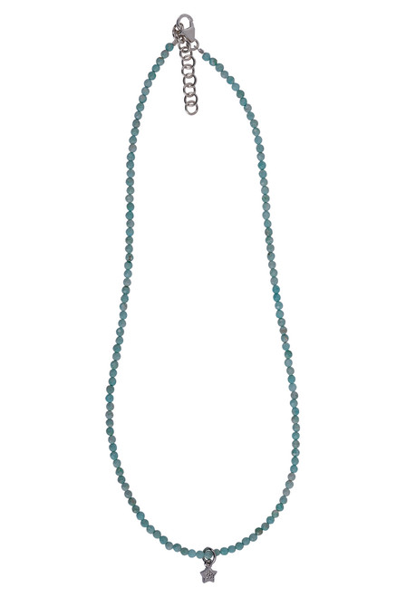 Brown Eyed Girl Charm Necklace With Cut Gemstones - amazonite