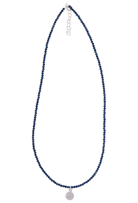 Brown Eyed Girl Charm Necklace With Cut Gemstones - lapis